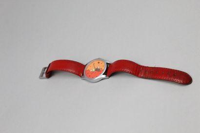 TINTIN montre bracelet cuir rouge, boîte...