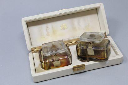 """Parfum D'ORSAY - """"Trophée"""" & """"Belle de jour  Set of two crystal bottles, titled..."""