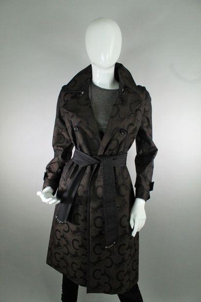 CELINE  Rare trench coat en coton brun et...