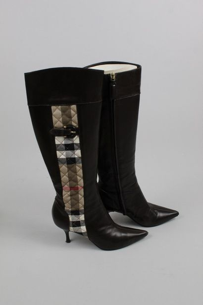 BURBERRY    Pair of brown leather and quilted canvas heeled boots with the House's...