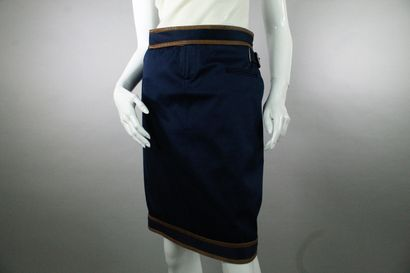RED VALENTINO    Short blue denim effect skirt with belt details and yokes on the...