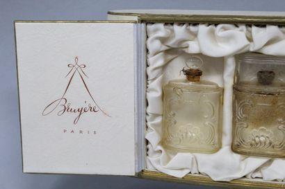 "Perfume BRUYERE - "" Character "" - "" Trendy "" - "" ? ""  Set of three colorless glass..."