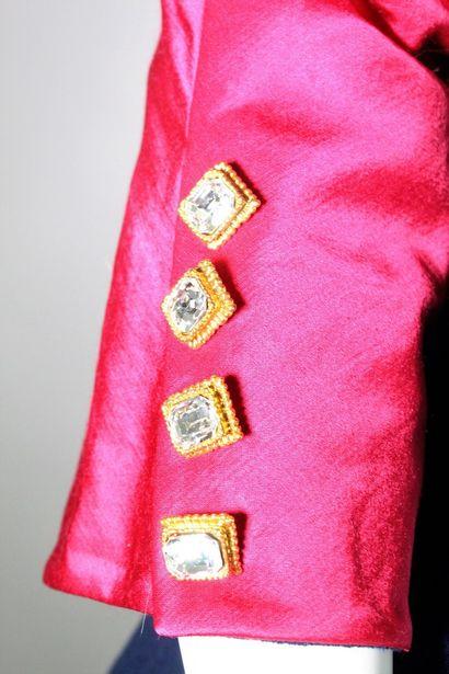 CHRISTIAN DIOR (Collection A/H 1993/1994)    Robe courte bi-matière en crêpe bleu...