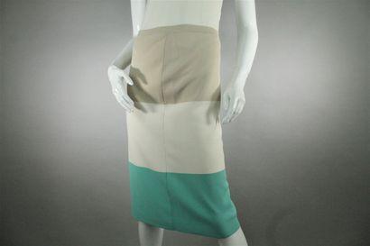 MAX MARA    Skirt in three-coloured knit, beige, cream and lagoon blue. Elasticated...