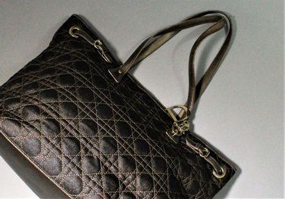 """CHRISTIAN DIOR    Shoulder or hand bag, """"Panarea"""" PM model, made of golden leather..."""