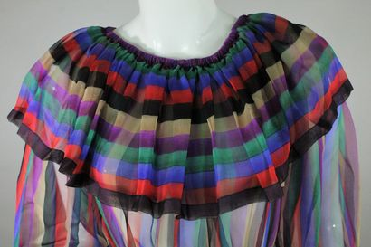 LANVIN (circa 1980)    Robe en mousseline de soie à rayures multicolores à jeu de...