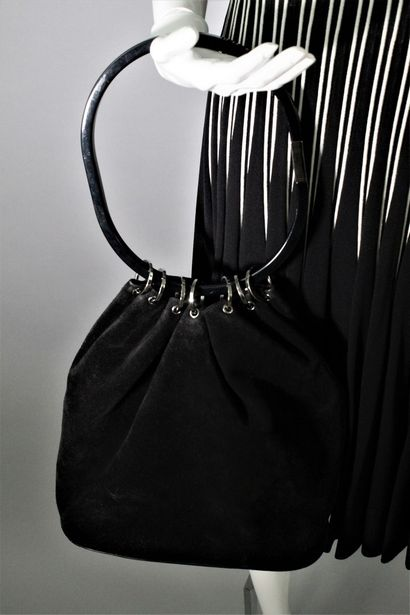 GUCCI (by Tom Ford)    Rare black suede purse bag, funny black plexiglass handle...
