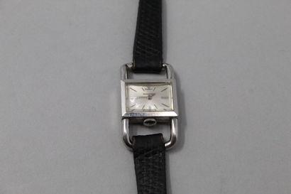 JAEGER LECOULTRE - HERMES  Montre bracelet de dame, boîtier rectangulaire en métal,...