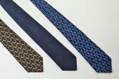 LANVIN  Lot de trois cravates en soie dans...