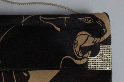 VALENTINO  Evening clutch bag in beige and brown colt with panther print and silver...