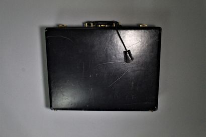 HERMES    Midnight blue leather box briefcase with single handle carrying system,...