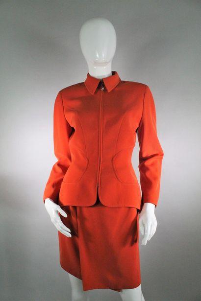 MUGLER    Ensemble orange composé d'une veste...