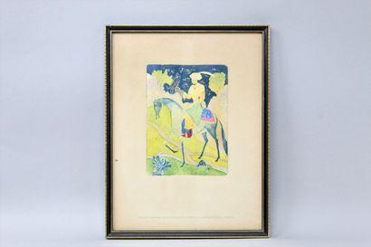 CH. DE GASTYNE Fauconnier à cheval, estampe en couleurs. Gravure originale de Charles...