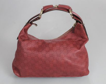 """GUCCI    Hand or shoulder bag """"Mors"""" model in ochre Guccissima leather.  Zipped..."""