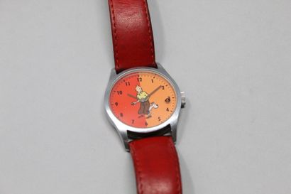 TINTIN montre bracelet cuir rouge, boîte en acier. Edition Hergé/Moulinsart 1998....