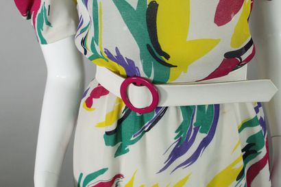 LANVIN (circa late 1970)    White polyster dress with multicolored horses, emblem...