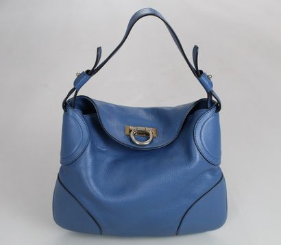 SALVATORE FERRAGAMO    Hand or shoulder bag in blue grained leather with a clasp...