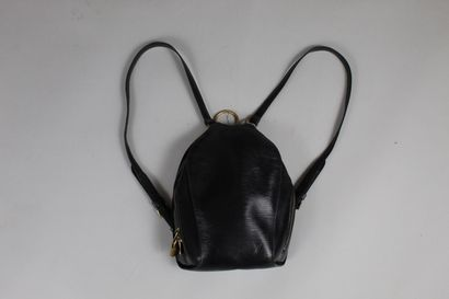 LOUIS VUITTON    Mabillon backpack in black epi leather.  Patch pocket in inside...