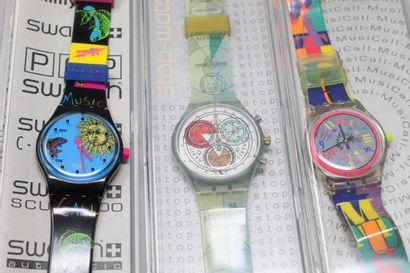 SWATCH  3 montres bracelet :  modèle stop...