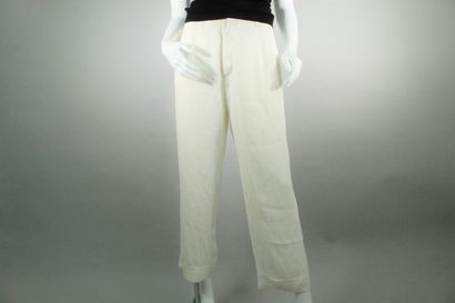 SONIA RYKIEL  Pantalon blanc à pinces en...