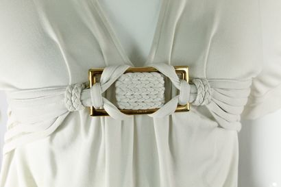 GUCCI (par Frida Giannini)    Top à manches courtes crème en mailles à motif de...