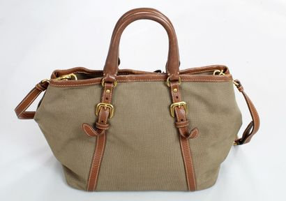 PRADA Beige canvas and tobacco leather bag carried by hand, or over the shoulder...