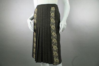 ETRO    Jupe demi-plissée en laine mélangée...
