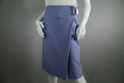 CELINE    Purple wallet effect skirt with large silver ciglée buckle detail attached...