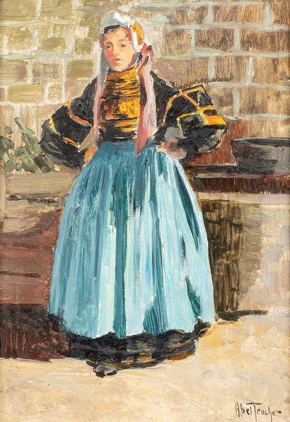 TRUCHET Abel, 1857-1918  Jeune bretonne  huile...