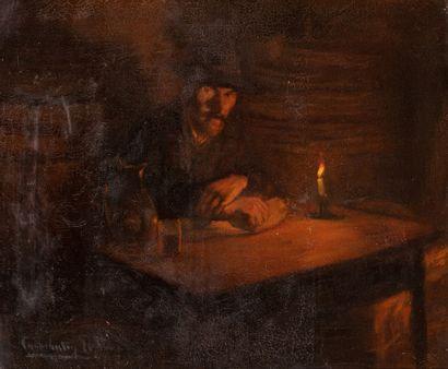 LEROUX Constantin, c. 1850-1909  Homme attablé...