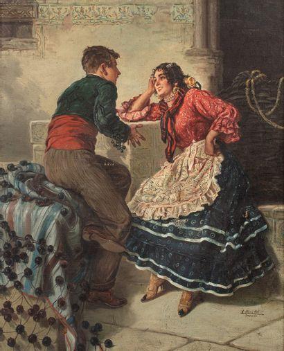 SANCHEZ SOLA Eduardo, 1869-1949  Scène galante...