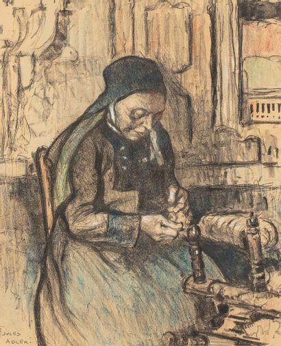 ADLER Jules, 1865-1952  La fileuse  fusain...