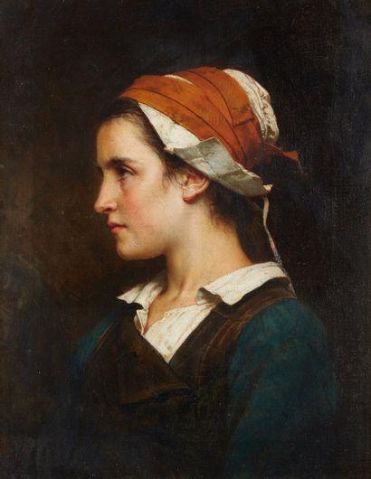 HUBLIN Émile Auguste, attribué à  Jeune paysanne...