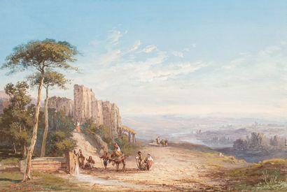 PASCAL Paul, 1832-1905  Paysage à la fontaine,...