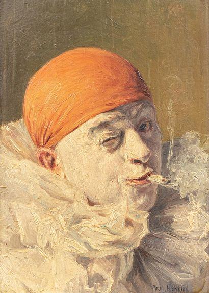 HENRION Armand, 1875-1958  Clown au bonnet...