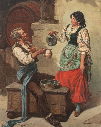 SANCHEZ SOLA Eduardo, 1869-1949  La dégustation...