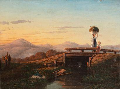 HERTRICH Michel, 1811-1880  Paysanne et sa...