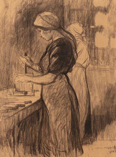 ADLER Jules, 1865-1952  Ouvrières, 1918  fusain...