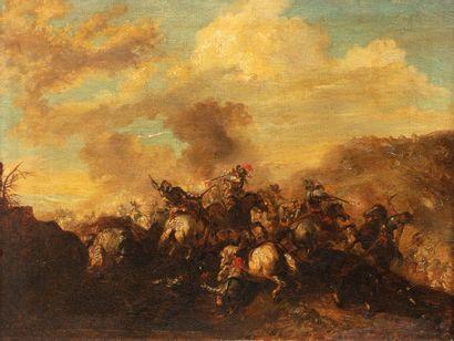 LEYS H., XIXe siècle  Scène de bataille,...
