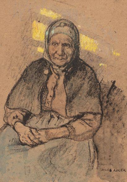 ADLER Jules, 1865-1952  Vieille femme assise...
