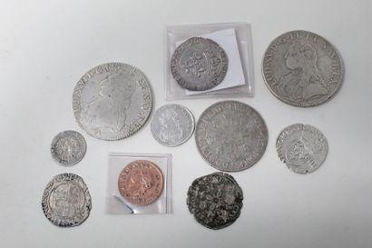 Lot de onze monnaies royales en argent et...