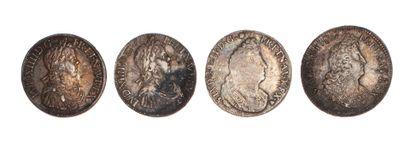 LOUIS XIV  Lot de 4 écus d'argent : 1652...