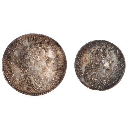 LOUIS XV  Lot de 2 monnaies d'argent : demi...