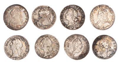 LOUIS XV - LOUIS XVI  Lot de 8 écus d'argent...