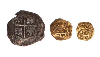 EMPIRE ESPAGNOL  Lot de trois monnaies