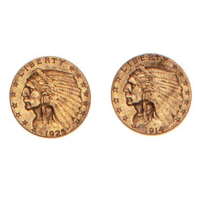 ETATS UNIS  Lot de deux pièces de 2 1/2 dollars...