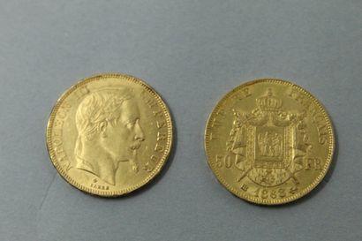 Deux pièces en or de 50 francs Napoléon III...