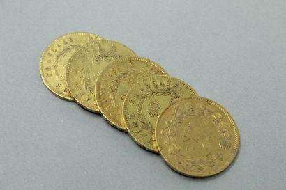 Lot de cinq pièces en or de 40 francs comprenant...