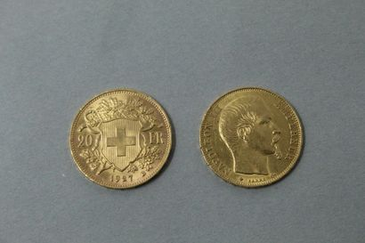 Lot de deux pièces en or comprenant :  -...