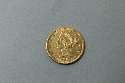 Pièce de 5 Dollars Coronet Head 1881 Philadelphie....